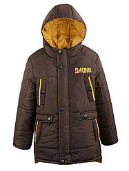 Детская зимняя куртка на мальчика коричневая, р.122