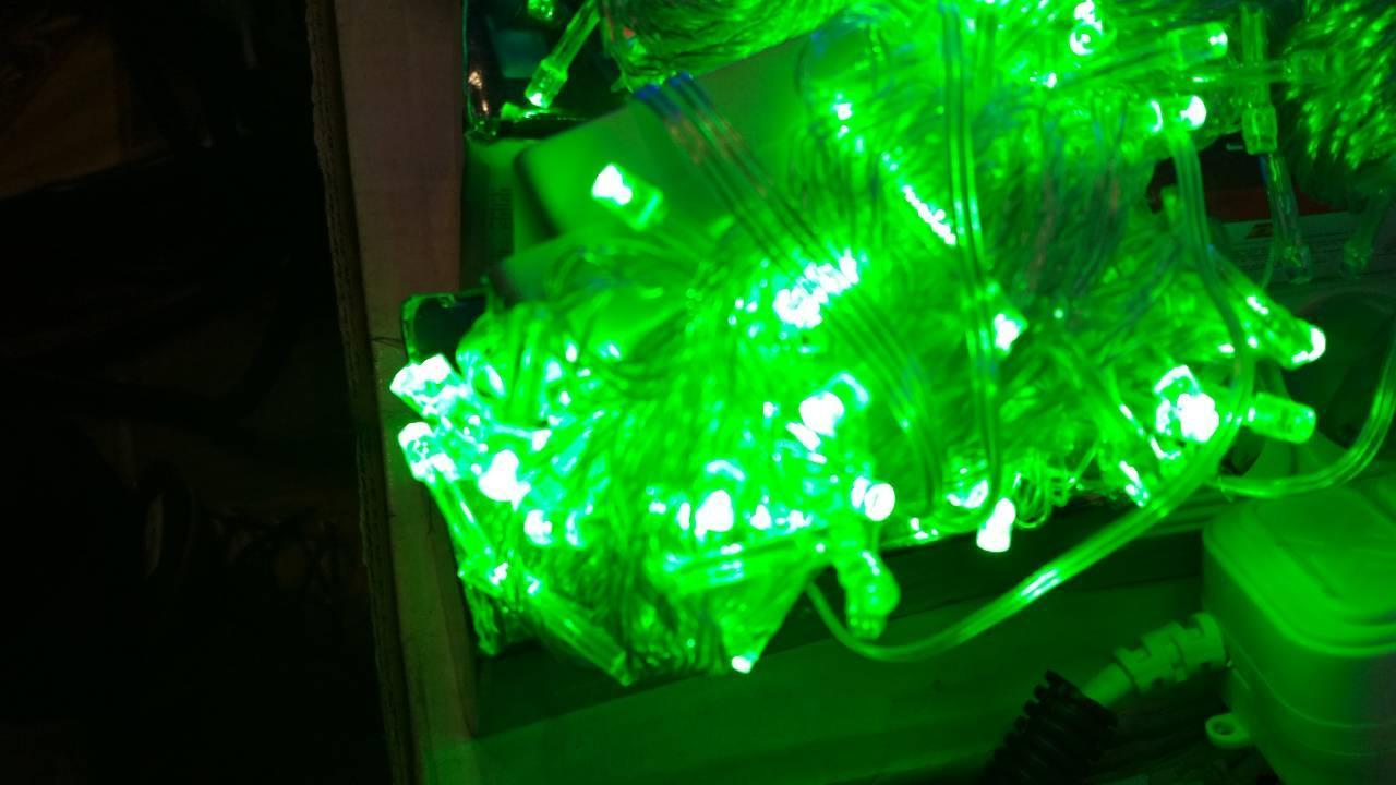 Яркая новогодняя гирлянда 100 LED зеленая