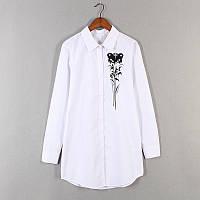 Удлинённая белая рубашка с принтом