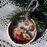 Символ 2018 года Собака Подвеска медальон на елку Подарки ручной работы на новый год 2018