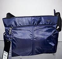 Сумка женская тканевая синяя из плащевки на плечо модная один отдел с карманами Dolly 646, фото 1
