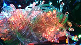 Яркая новогодняя гирлянда 100 LED красная