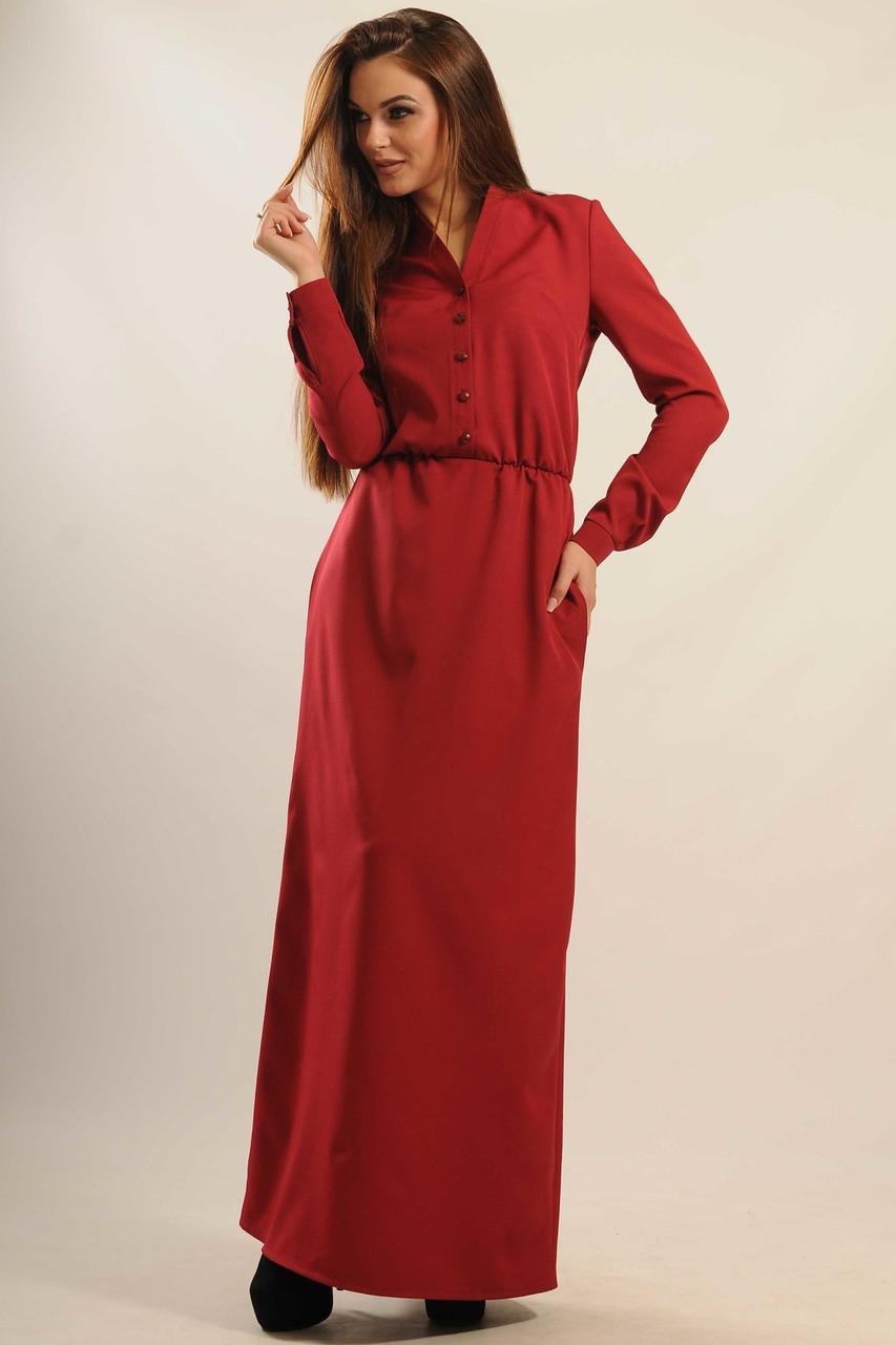 a0e0cb1a1cf9468 Классическое длинное платье Ваниль из костюмной ткани с длинным рукавом и  воротником-стойкой 42-