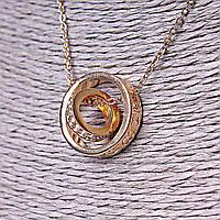 Подвеска на цепочке Два Кольца Gold, маленькое кольцо со стразами, большое - тиснение сердечек по ободку