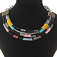 [15-180 мм] Ожерелье африканский мотив, цвета: бирюзовый, красный, черный, розовый, желтый,  4 ряда, металлические бусины, тканевые вставки