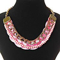 [5 мм] Ожерелье нежное золотистые цепочки мелкие и крупные звенья, розовая нить косичка и нить розовых бусин