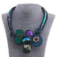 Колье Африка, цветной шнур, деревянные детали,металлические украшения, в сине-зелёных тонах