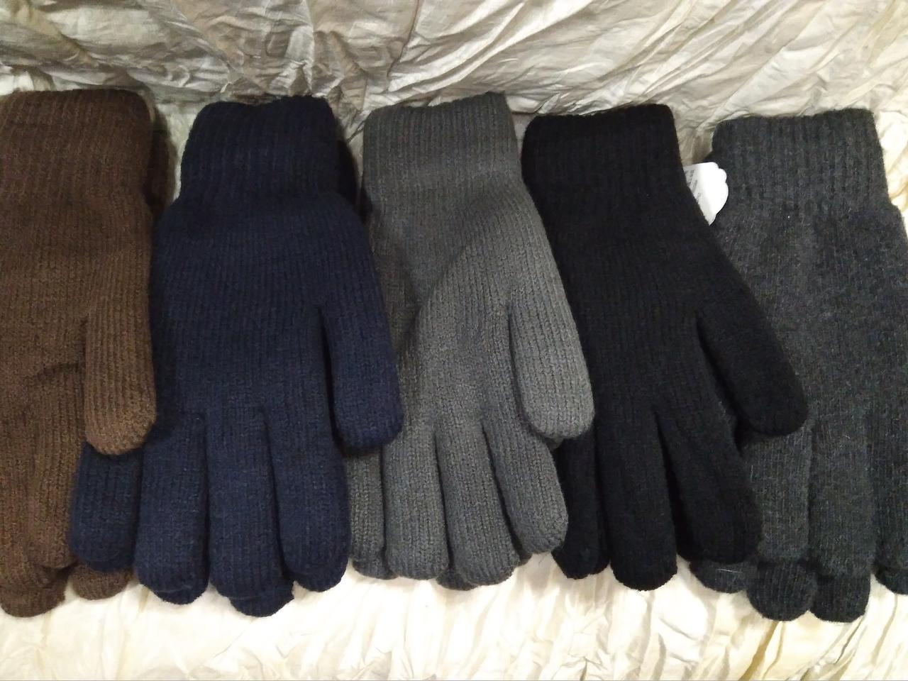 Перчатки мужские вязаные двойные цвет тёмно серый и черный