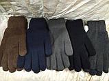 Перчатки мужские вязаные двойные цвет тёмно серый и черный, фото 2