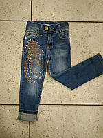 Детские синие джинсы для девочки с коричневыми стразами  92,98