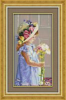 Девочка и цветы. Набор для вышивания крестом