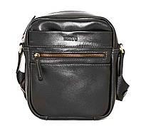 Небольшая мужская сумка черная натуральная кожа