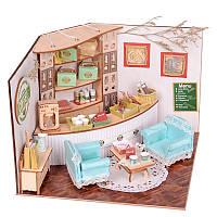 Sweet Home Colombian Coffee House Комната DIY Dollhouse Набор С Светодиодный Отделка деревом