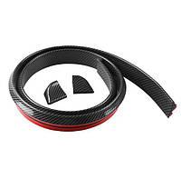 Универсиальная 1.5M * 4CM резиновые волокна углерода автомобиля бампер Газа Protector наклейка для Kit Бампер для губ