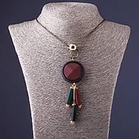Ожерелье Пудра медальон бордо с черным и зеленым  на тонкой цепочке L-70см
