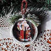 Елочные игрушки Подвеска медальон на елку Подарки ручной работы на новый год 2019