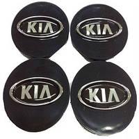Колпачки заглушки на титановые диски Kia 60/55 мм черн хром пластик  эмблема объемная