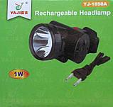 Налобный аккумуляторный фонарик на 1 светодиод, YJ-1858a, фото 2