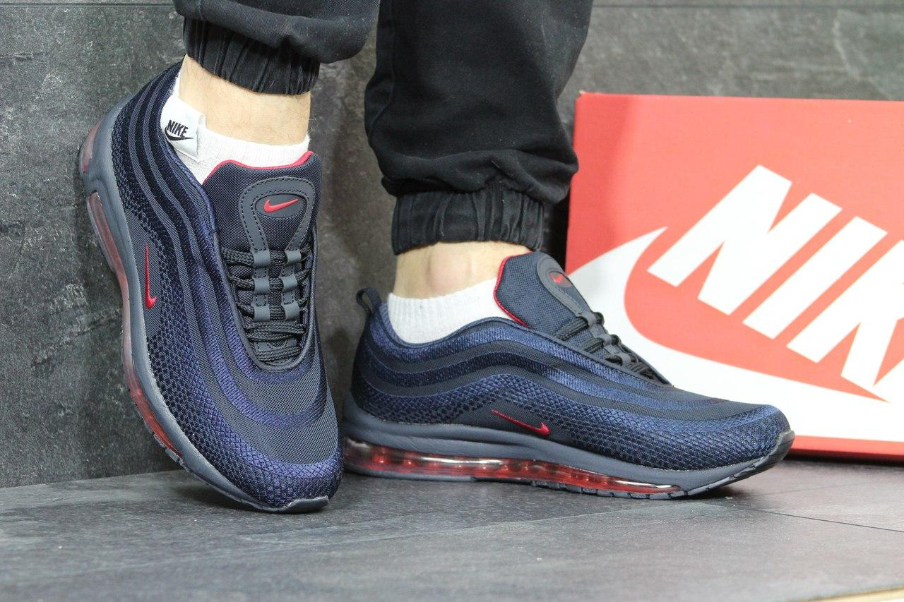 Кроссовки мужские Nike air max 97,темно синие с красным