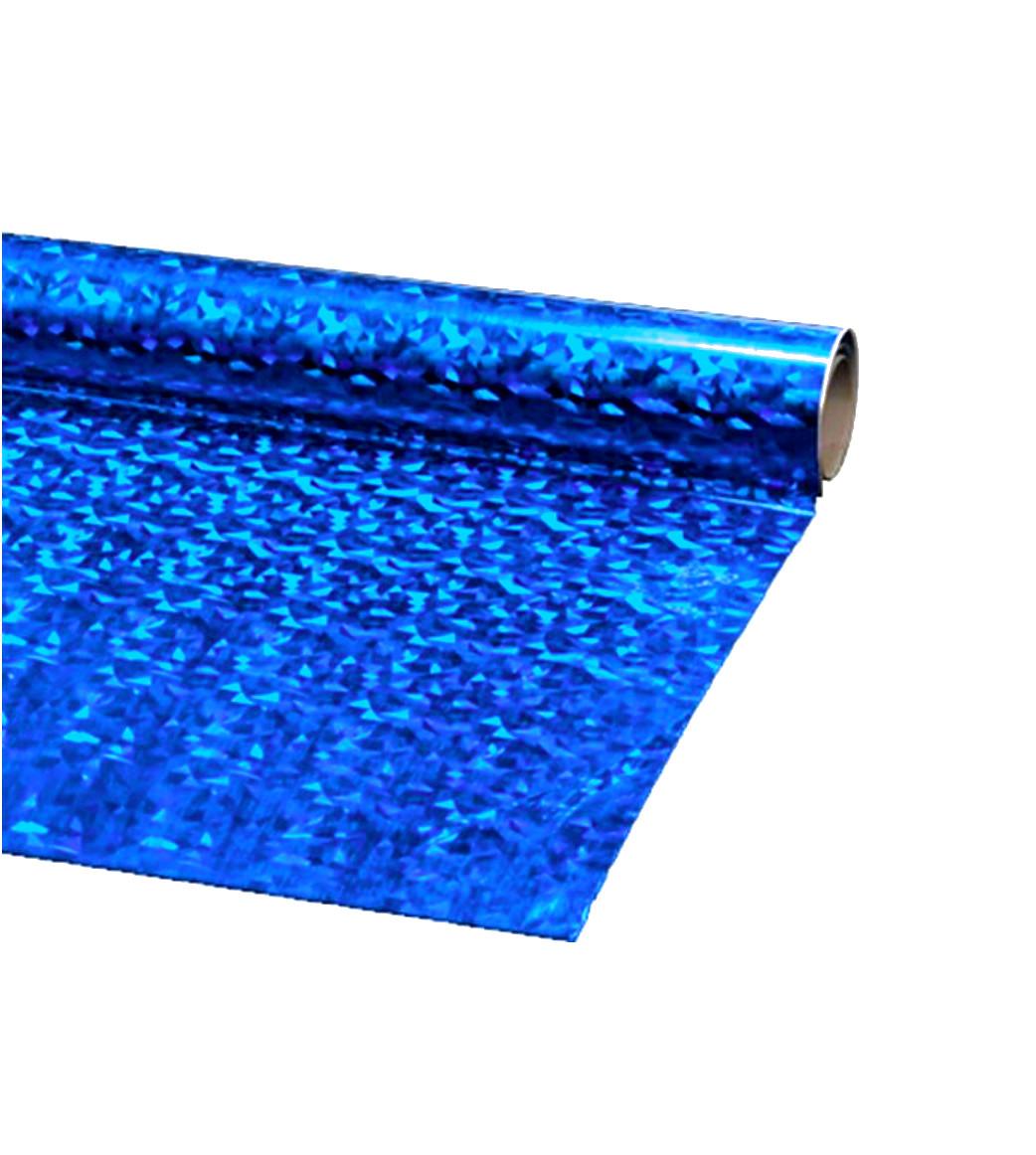 Пленка подарочная упаковочная голограмма Синяя-серебро Полисилк 25 шт/уп 50x70 см, фото 1