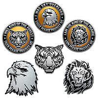 3D DIY Серебро Животные Глава металла Логотип наклейки для автомобиля мотоцикла знак герба Decals