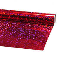 Пленка подарочная упаковочная голограмма Красная-серебро Полисилк 25 шт/уп 50x70 см, фото 1