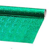 Пленка подарочная упаковочная голограмма Зеленая-серебро Полисилк 25 шт/уп 50x70 см, фото 1