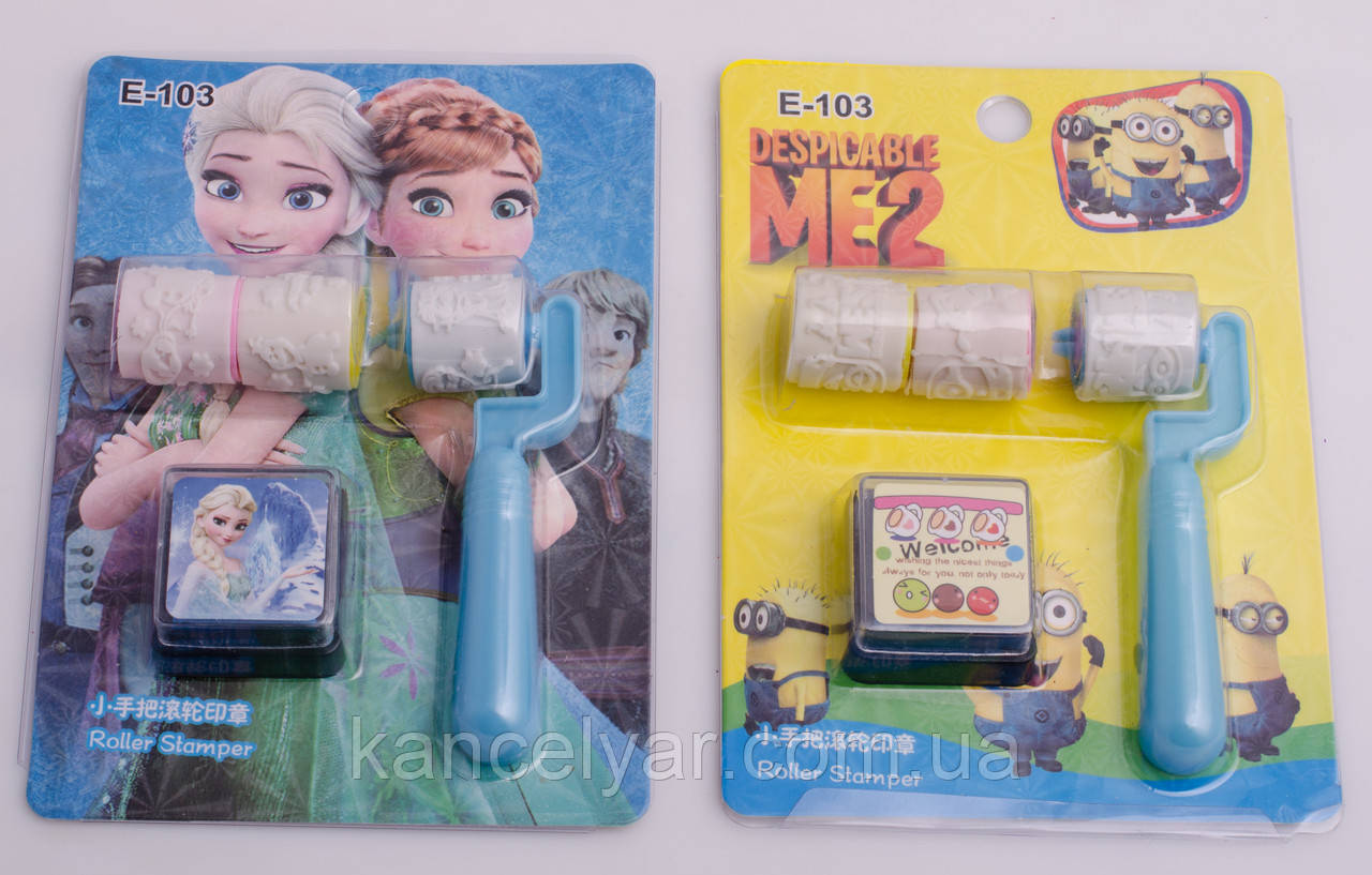 Набір печаток дитячий: ролик - 3 шт. + штемпельна подушка, в асортименті