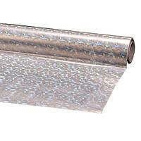 Пленка подарочная упаковочная голограмма Серебряная с рисунком Полисилк 25 шт/уп 50x70 см