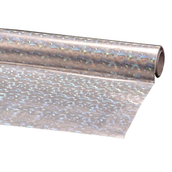 Пленка подарочная упаковочная голограмма Серебряная с рисунком Полисилк 25 шт/уп 50x70 см, фото 1