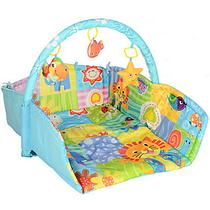 Детский коврик с мягкими игрушками на дуге прямоугольный