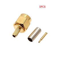 5PCS SMA Мужской 50-1,5 ВЧ разъем для RG174 RG316 LMR100 Кабель