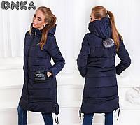 Женское теплое модное пальто на молнии и с капюшоном холлофайбер 42-54