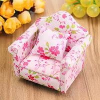 1:12 Dollhouse Миниатюрный розовый Цветочные Кресло Кресло Игрушки Мебель Украшения Рождественский подарок