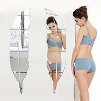 Honana Съемные 3D перо стены стикеры Туалетный Зеркало ванной Украшение Самоклеящиеся Зеркало