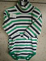 Детский теплый бодик в зеленую полоску 74-48