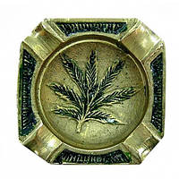 Пепельница бронзовая конопляный лист (6х6х0,5 см)