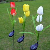 2V Солнечная Power Mult Tulip Flower Сад Stake Landscape Лампа На открытом воздухе Двор Светодиодный для дома
