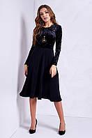Элегантное женское платье с юбкой гофре, черное