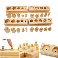Сулавесский блоки цилиндров Family Set Деревянные Монтессори образования игрушки