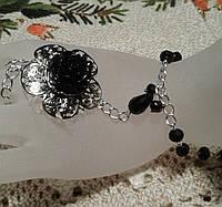 Слейв-браслет из чешского хрусталя для новогоднего  вечера - девушкам, фото 1