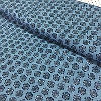 Ткань со снежинками (геометрическим цветочком) на серо-джинсовом фоне, ширина 145 см, фото 1