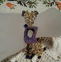 Браслет бузковий з натурального каменю - Друза Агата, фото 1