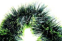 Мишура (дождик) зеленый с белыми кончиками 10 см.длина 3м (Польша)