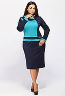 Трикотажное женское платье Ирена синий-бирюза