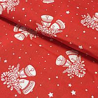 Ткань c новогодними колокольчиками на красном фоне, ширина 160 см, фото 1