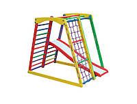 """Детский деревянный игровой спортивный уголок """"Top kids color 2"""" (138*84*118 см; горка, рукоход, сетка) ТМ ТопТоп"""