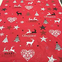 Ткань Merry Christmas с оленями, ёлками и звездами на красном фоне, ширина 160 см