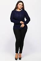 Вязаный свитер женский синий (сердечки) 1