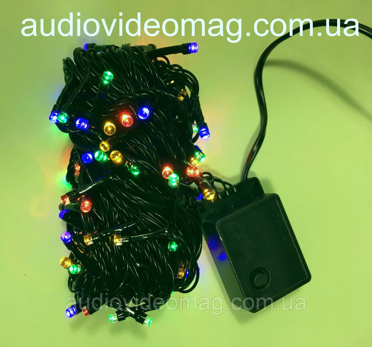 Новогодняя гирлянда - 100 светодиодов, 4 цвета, 8 режимов свечения